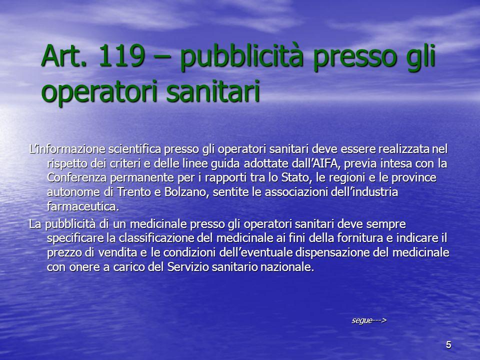 Art. 119 – pubblicità presso gli operatori sanitari
