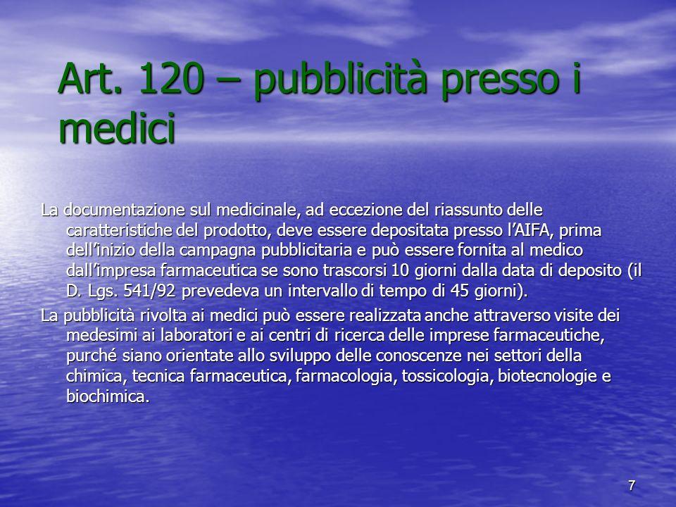 Art. 120 – pubblicità presso i medici