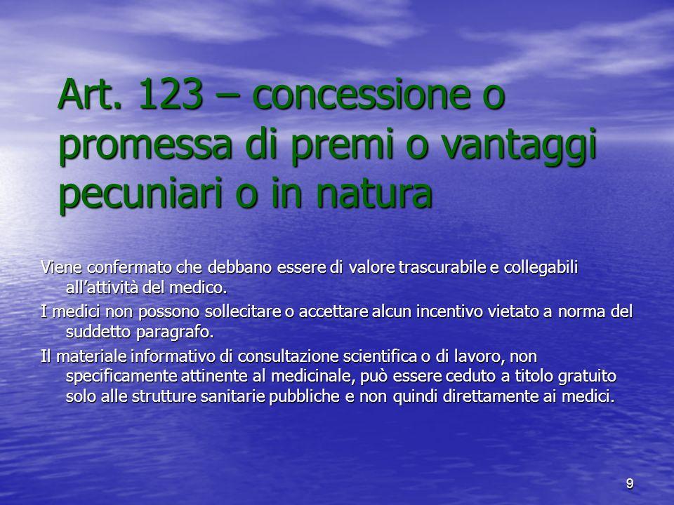 Art. 123 – concessione o promessa di premi o vantaggi pecuniari o in natura