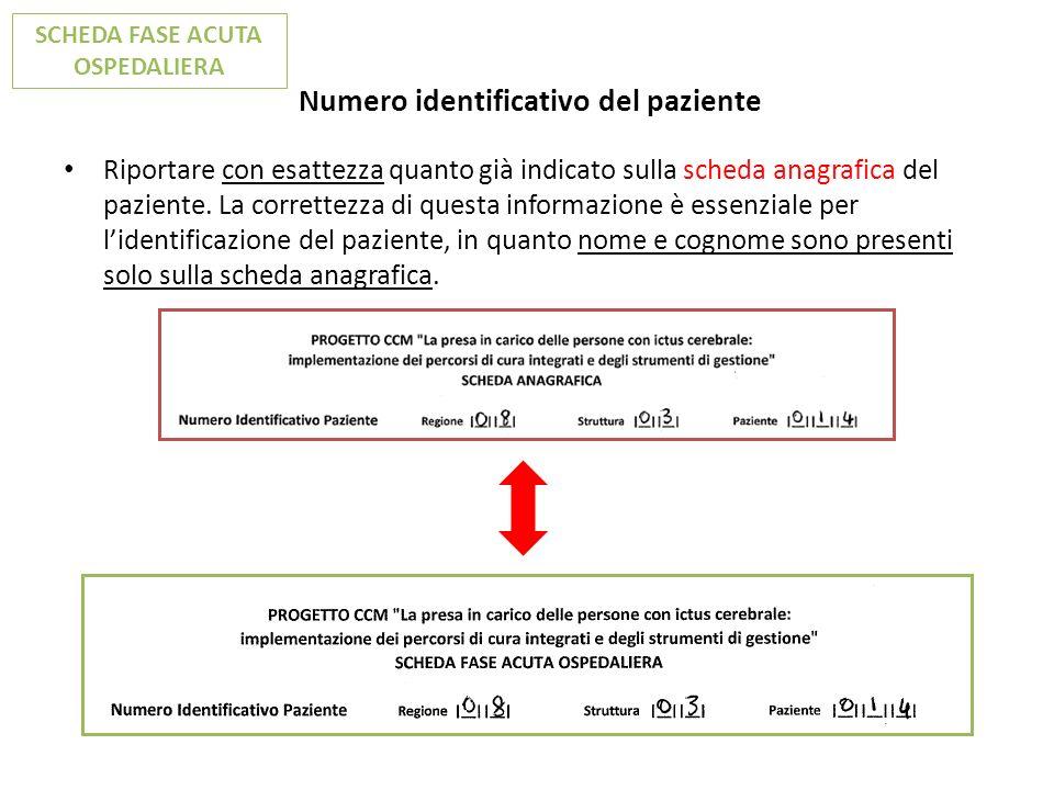 Numero identificativo del paziente
