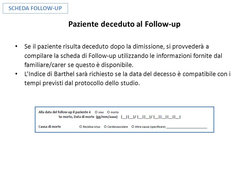 Paziente deceduto al Follow-up