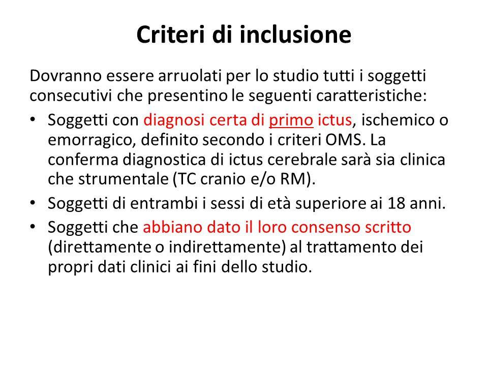 Criteri di inclusione Dovranno essere arruolati per lo studio tutti i soggetti consecutivi che presentino le seguenti caratteristiche: