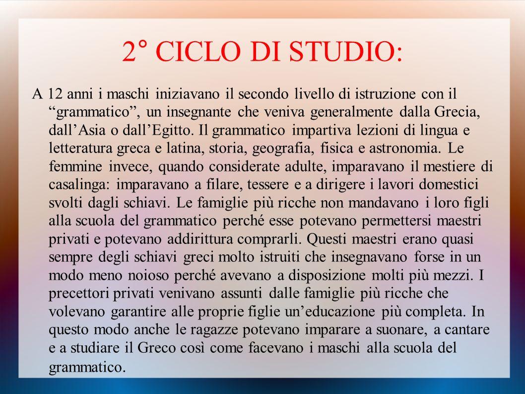 2° CICLO DI STUDIO: