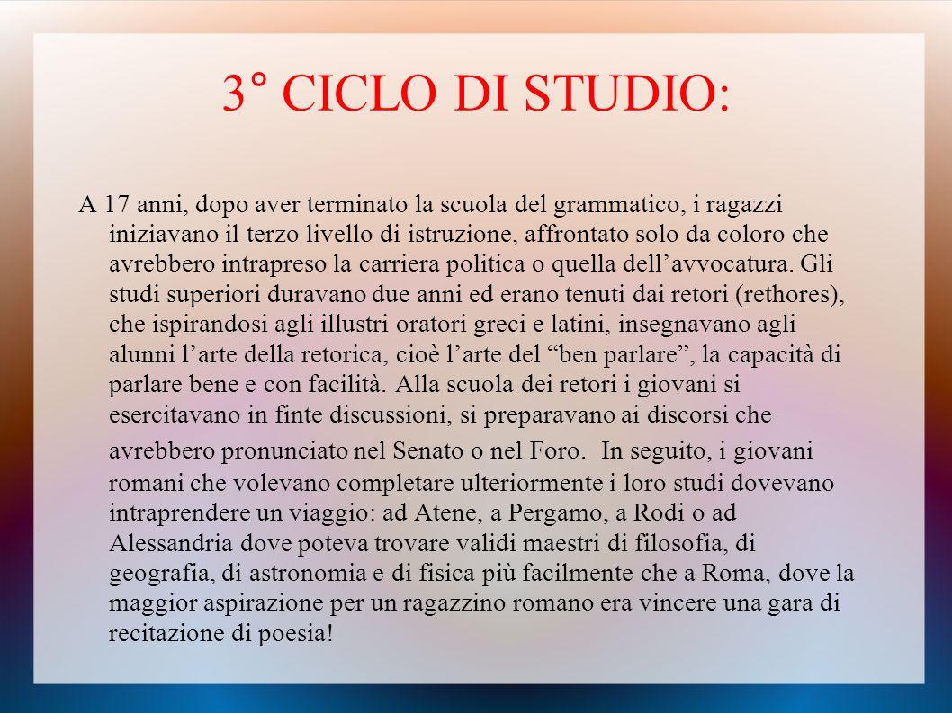 3° CICLO DI STUDIO: