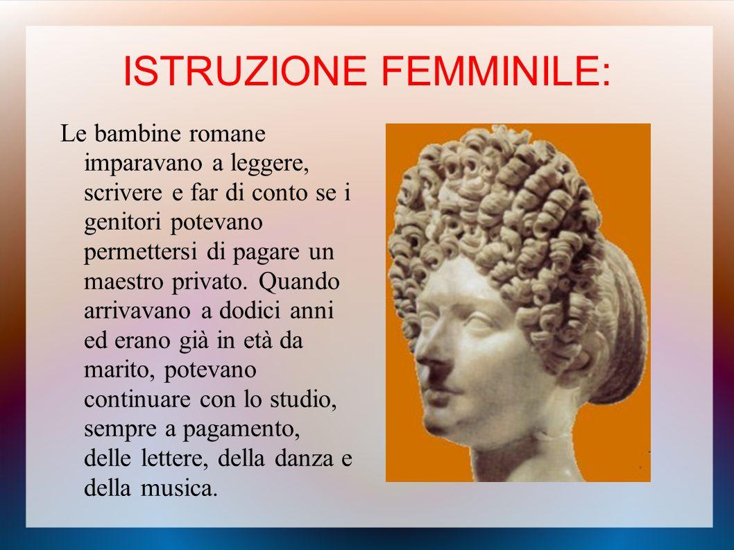 ISTRUZIONE FEMMINILE:
