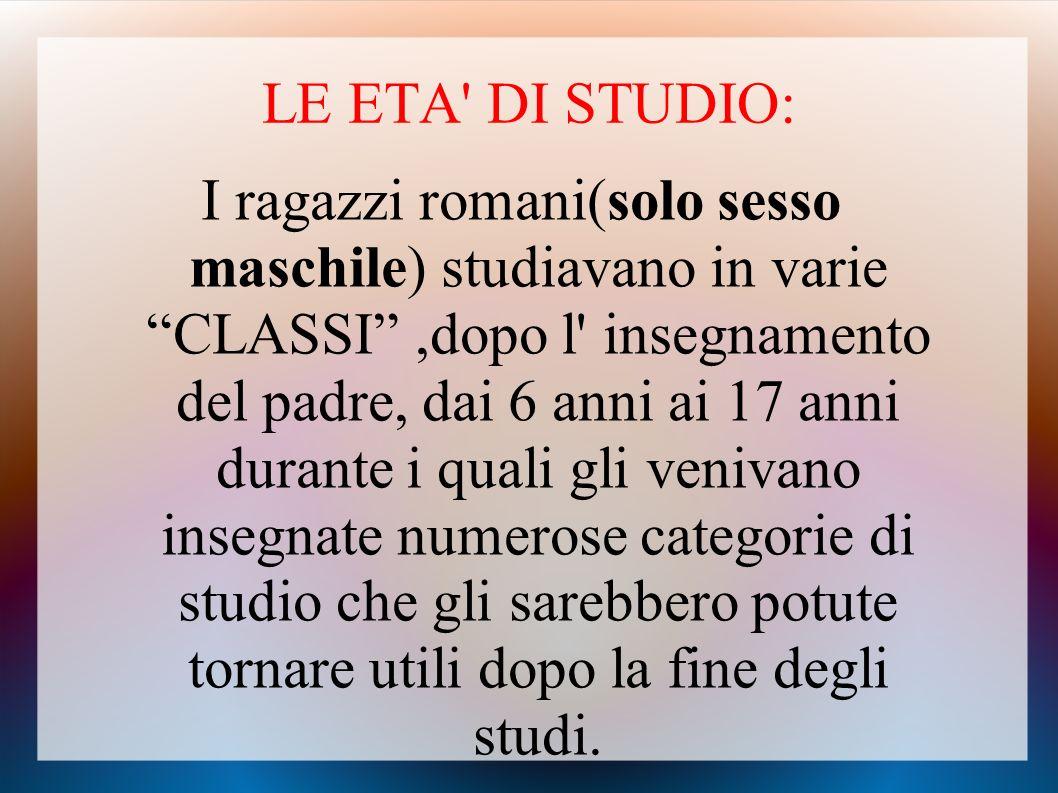 LE ETA DI STUDIO: