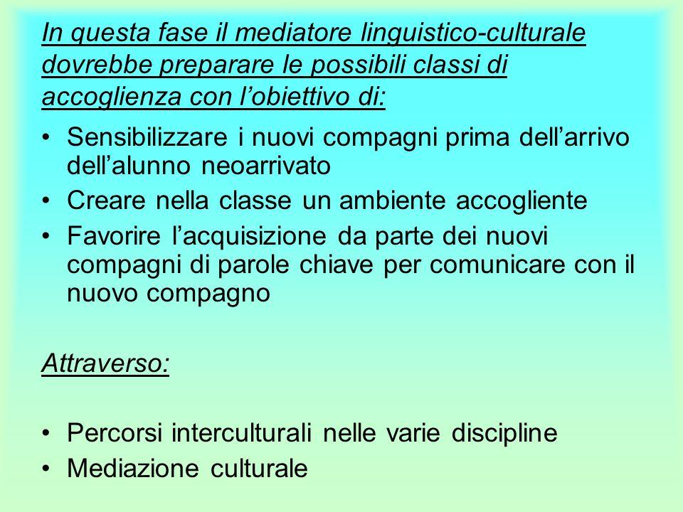 In questa fase il mediatore linguistico-culturale dovrebbe preparare le possibili classi di accoglienza con l'obiettivo di: