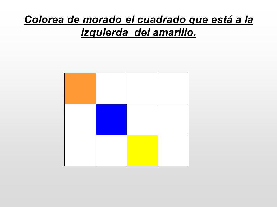 Colorea de morado el cuadrado que está a la izquierda del amarillo.