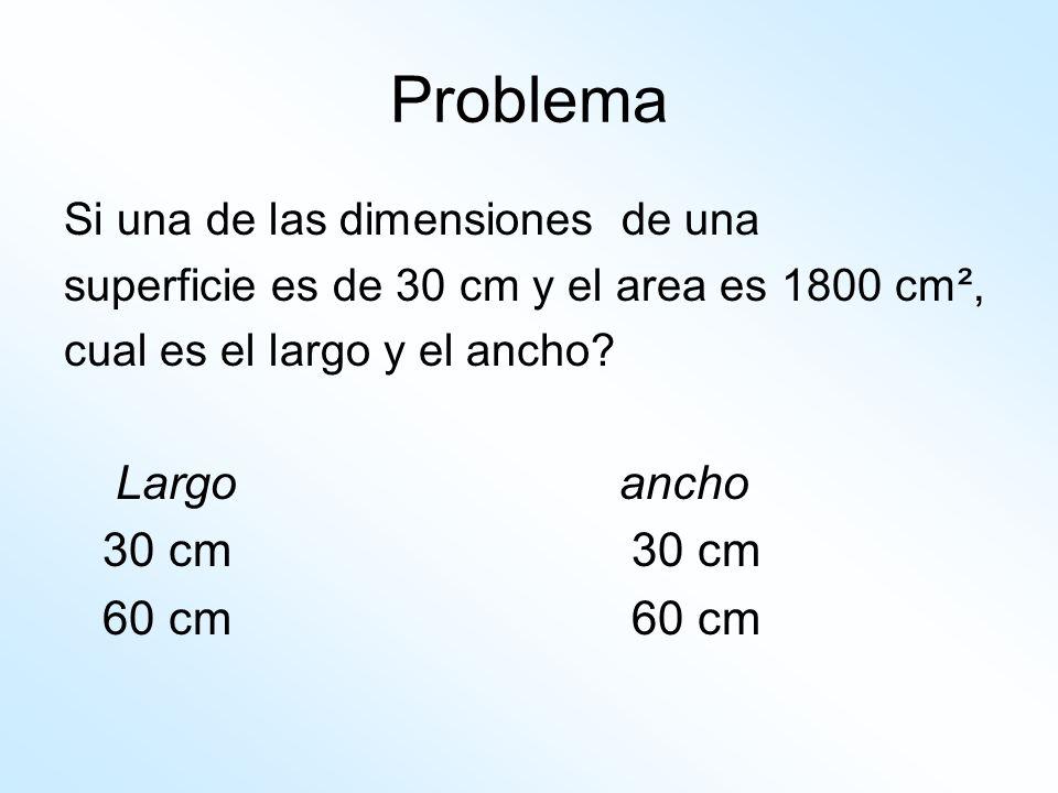 Problema Largo ancho 30 cm 30 cm 60 cm 60 cm