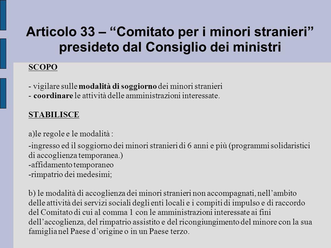 Articolo 33 – Comitato per i minori stranieri