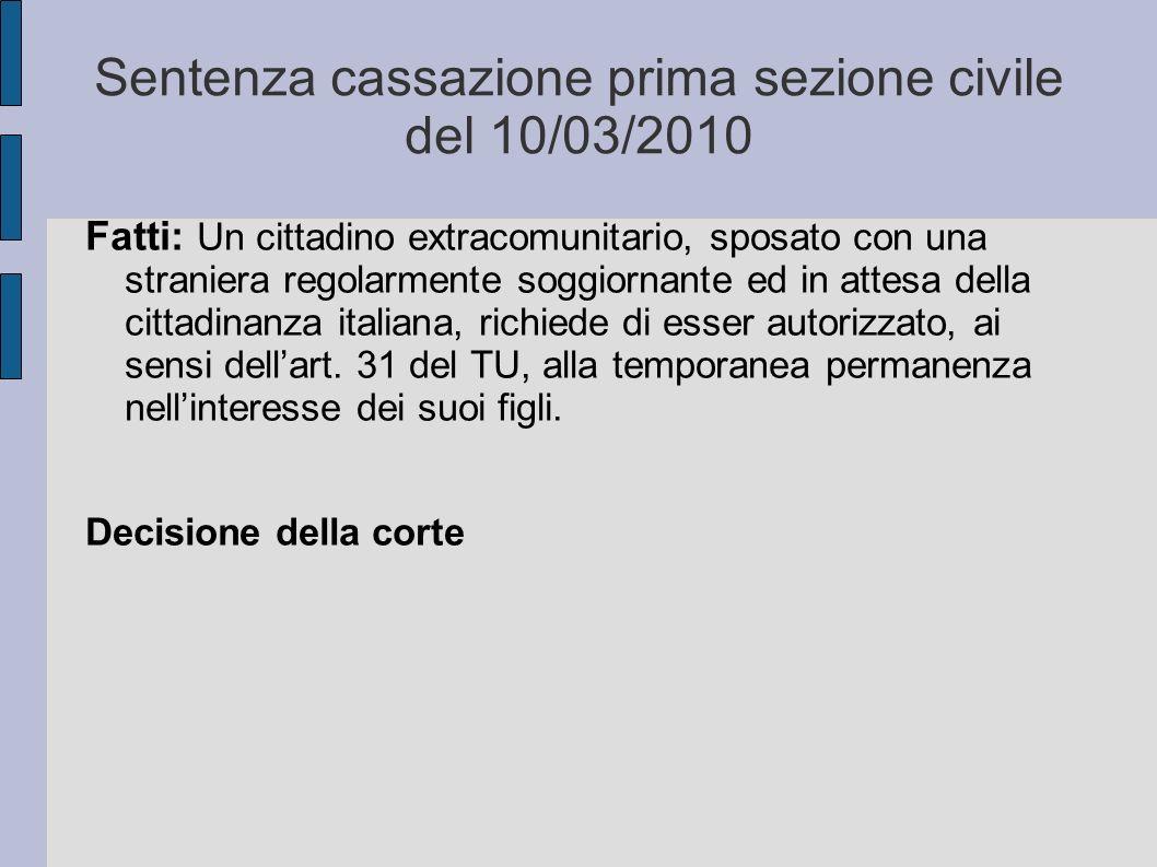 Sentenza cassazione prima sezione civile del 10/03/2010