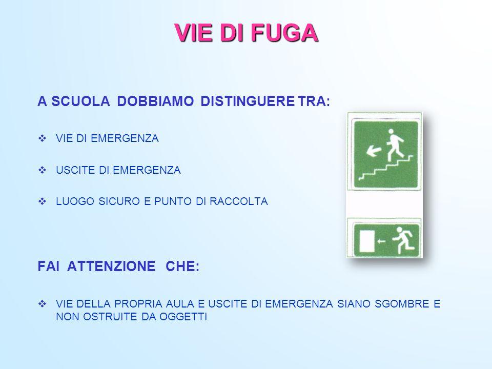 VIE DI FUGA A SCUOLA DOBBIAMO DISTINGUERE TRA: FAI ATTENZIONE CHE: