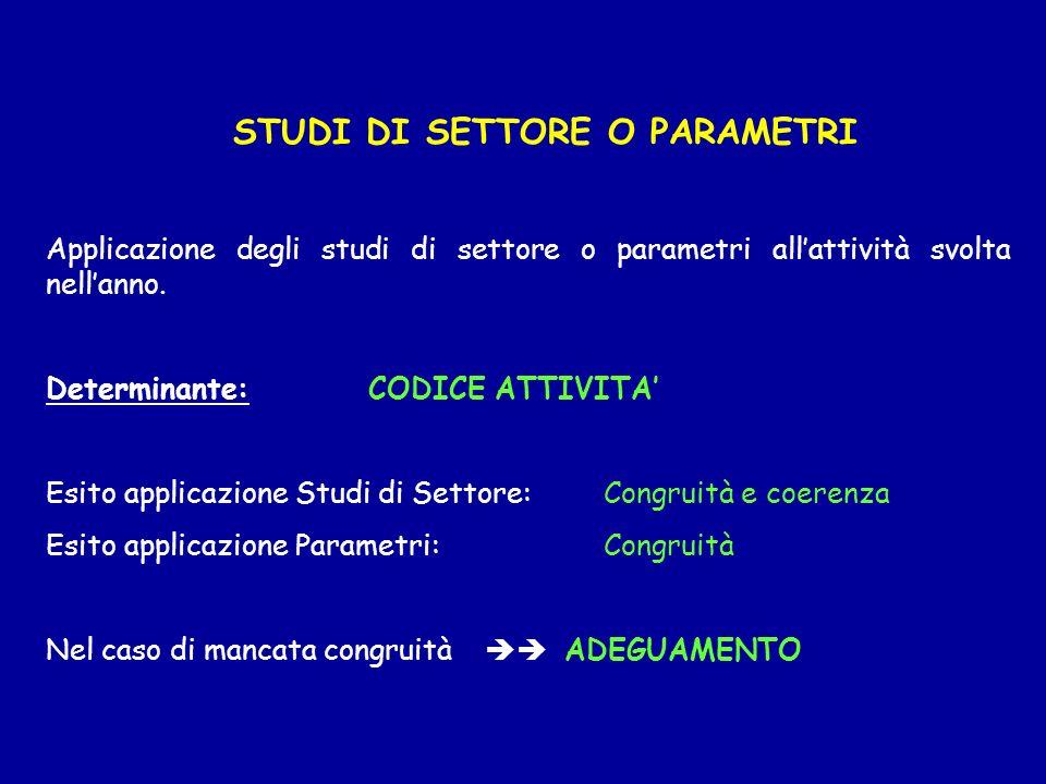 STUDI DI SETTORE O PARAMETRI