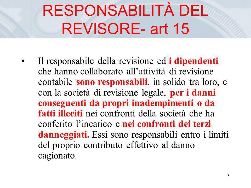 RESPONSABILITÀ DEL REVISORE- art 15