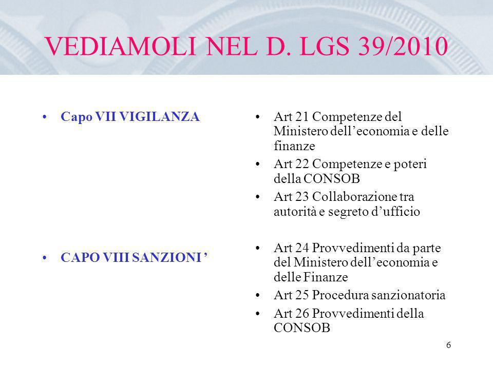 VEDIAMOLI NEL D. LGS 39/2010 Capo VII VIGILANZA CAPO VIII SANZIONI '