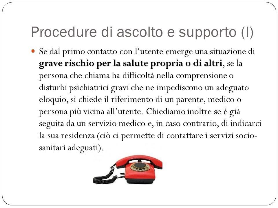 Procedure di ascolto e supporto (I)