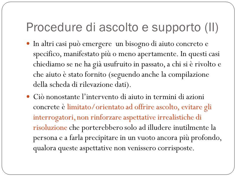 Procedure di ascolto e supporto (II)