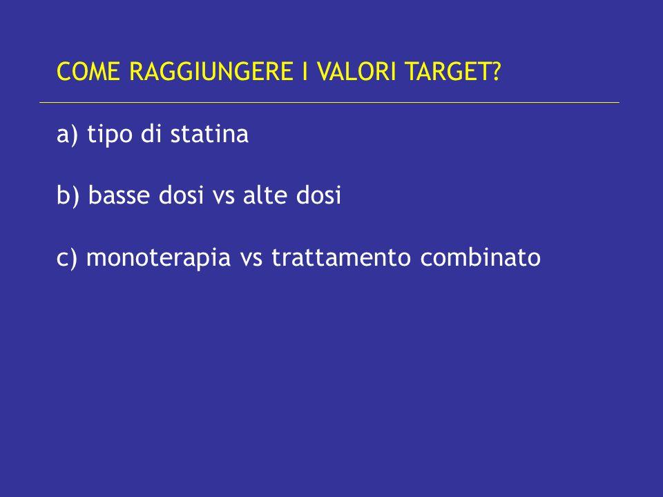 COME RAGGIUNGERE I VALORI TARGET a) tipo di statina