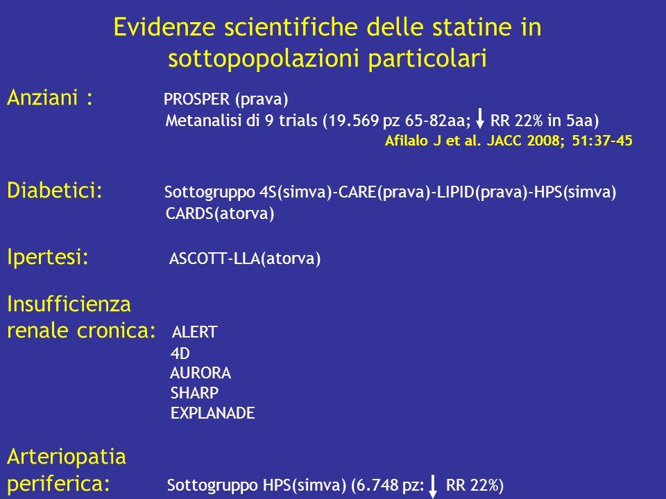 Evidenze scientifiche delle statine in sottopopolazioni particolari