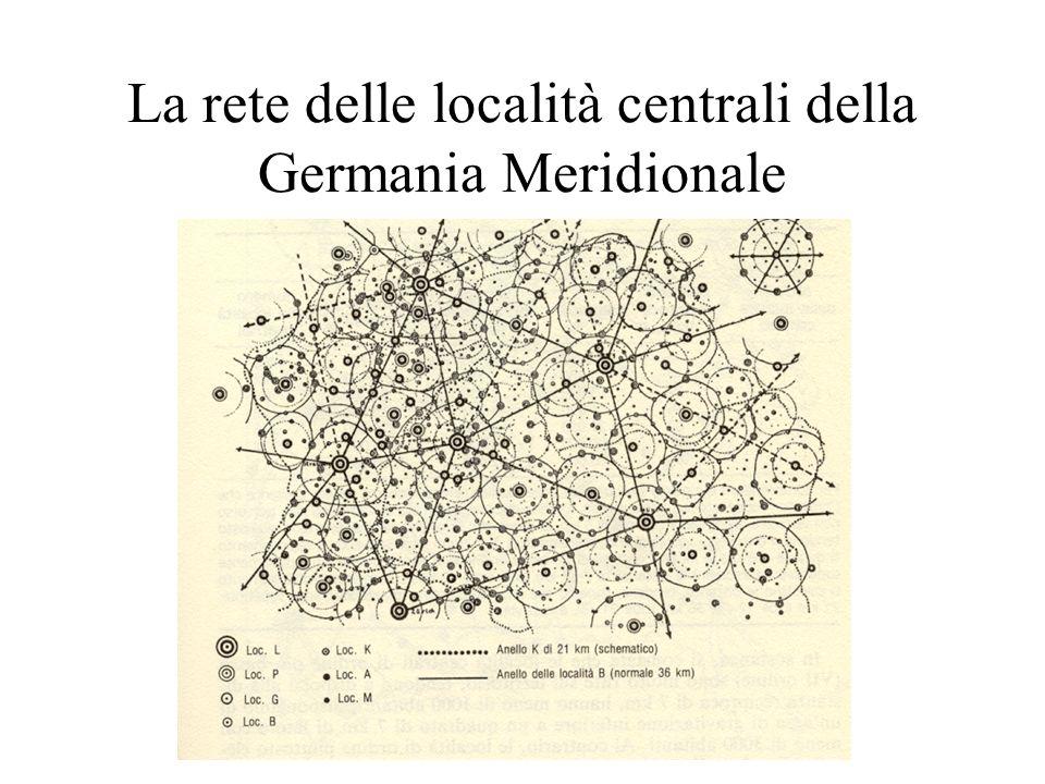 La rete delle località centrali della Germania Meridionale