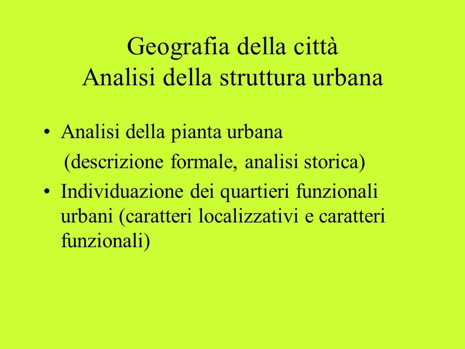 Geografia della città Analisi della struttura urbana