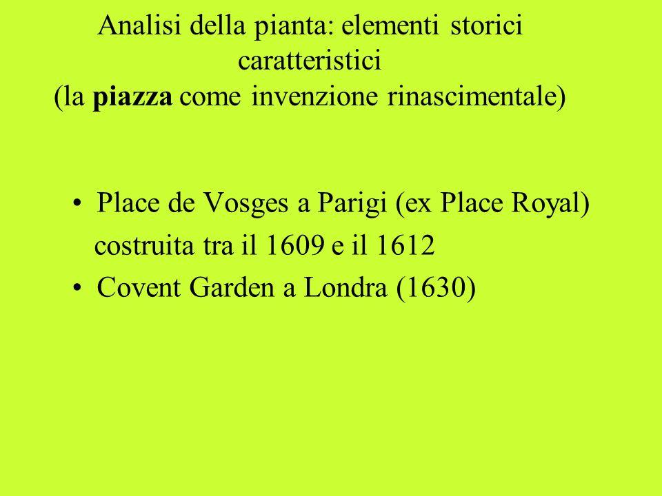Analisi della pianta: elementi storici caratteristici (la piazza come invenzione rinascimentale)