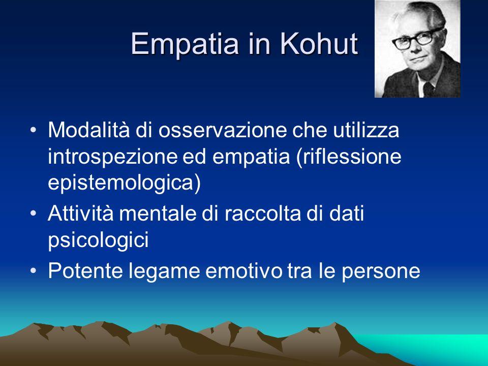 Empatia in Kohut Modalità di osservazione che utilizza introspezione ed empatia (riflessione epistemologica)