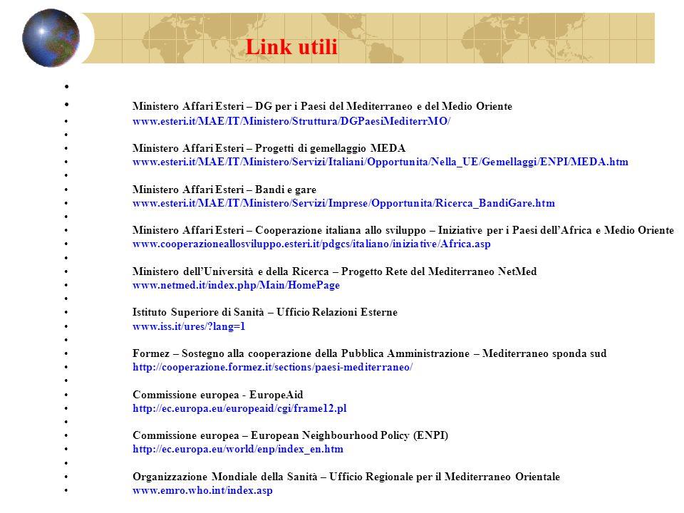 Link utili Ministero Affari Esteri – DG per i Paesi del Mediterraneo e del Medio Oriente.