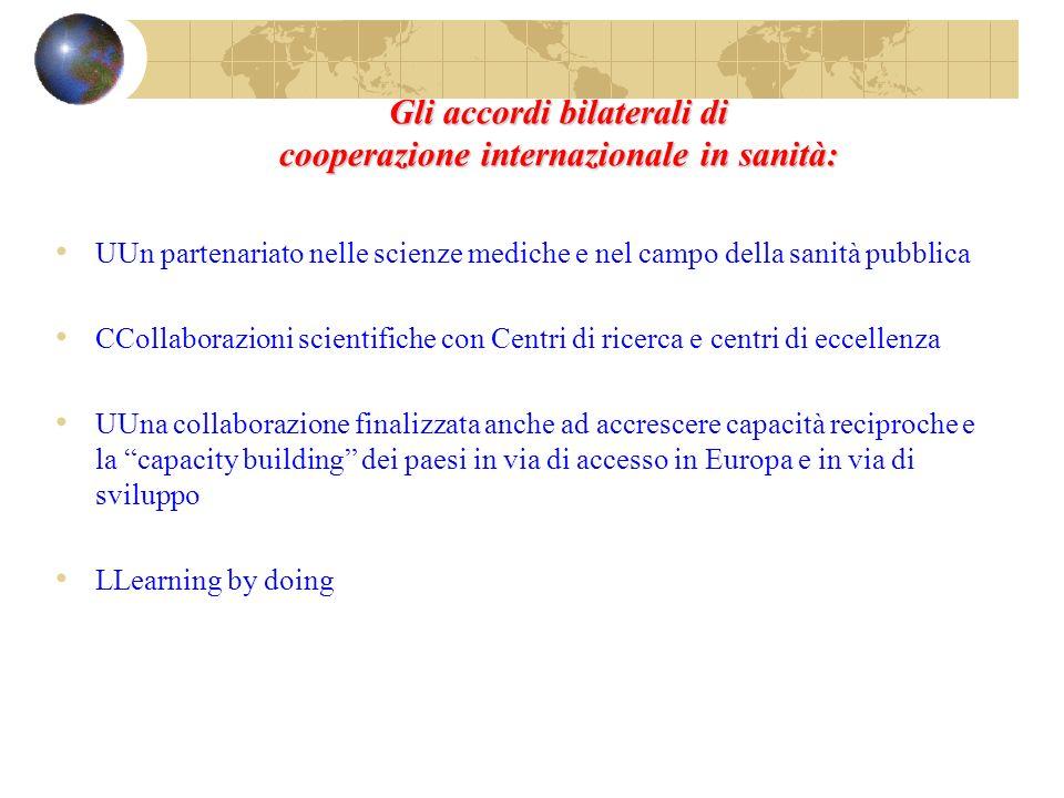 Gli accordi bilaterali di cooperazione internazionale in sanità: