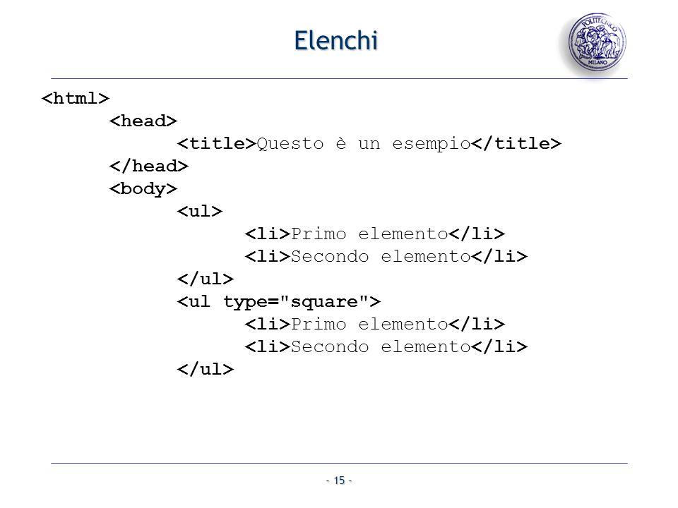 Elenchi <html> <head>