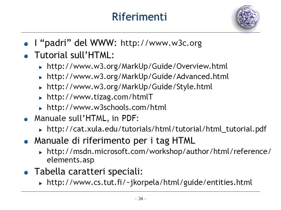 Riferimenti I padri del WWW: http://www.w3c.org Tutorial sull'HTML: