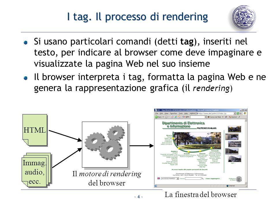 I tag. Il processo di rendering