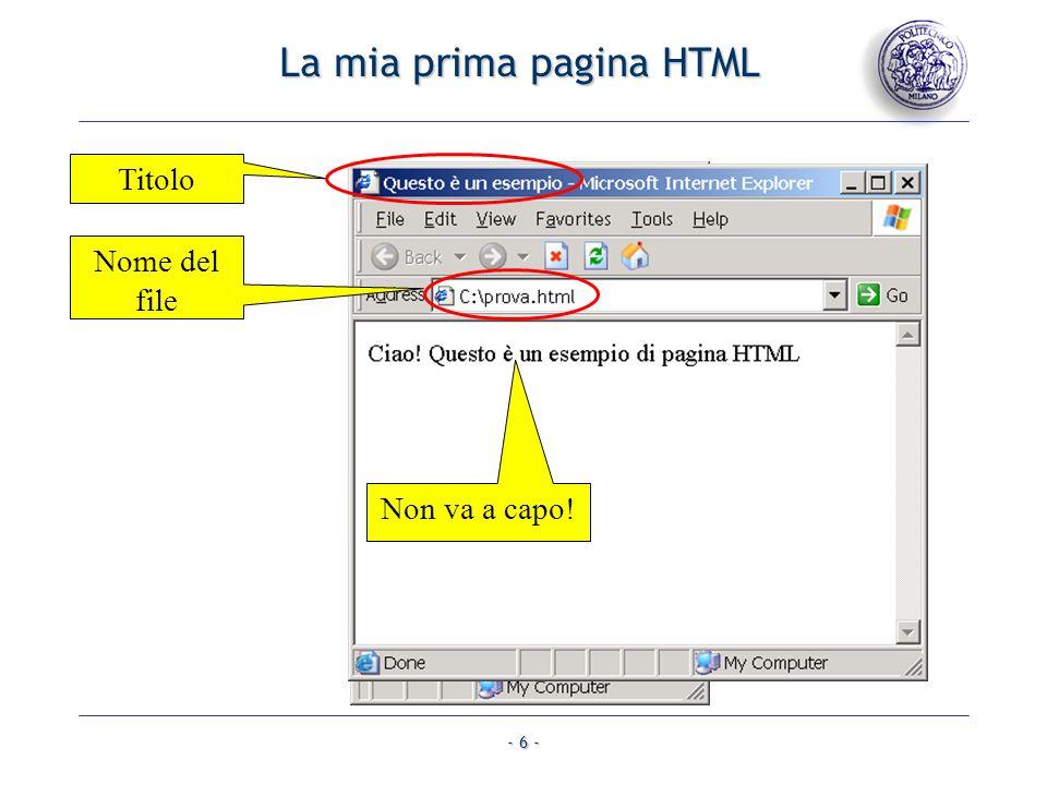 La mia prima pagina HTML