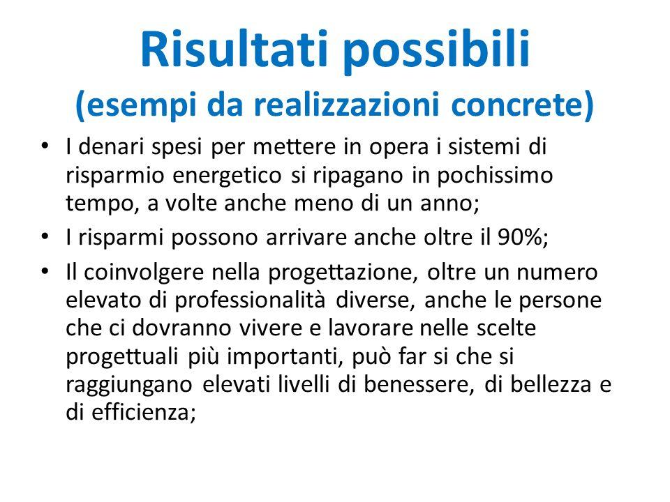 Risultati possibili (esempi da realizzazioni concrete)