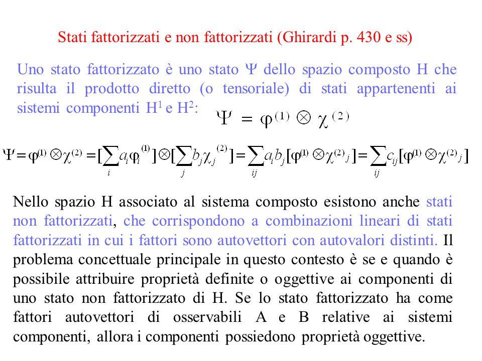 Stati fattorizzati e non fattorizzati (Ghirardi p. 430 e ss)
