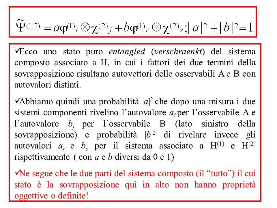Ecco uno stato puro entangled (verschraenkt) del sistema composto associato a H, in cui i fattori dei due termini della sovrapposizione risultano autovettori delle osservabili A e B con autovalori distinti.