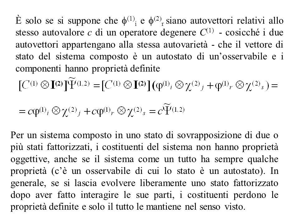 È solo se si suppone che f(1)i e f(2)r siano autovettori relativi allo stesso autovalore c di un operatore degenere C(1) - cosicché i due autovettori appartengano alla stessa autovarietà - che il vettore di stato del sistema composto è un autostato di un'osservabile e i componenti hanno proprietà definite