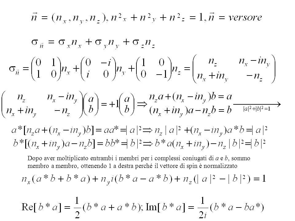 Dopo aver moltiplicato entrambi i membri per i complessi coniugati di a e b, sommo membro a membro, ottenendo 1 a destra perché il vettore di spin è normalizzato