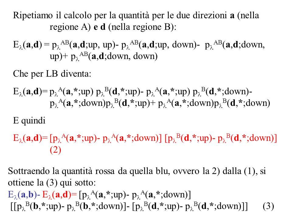 Ripetiamo il calcolo per la quantità per le due direzioni a (nella regione A) e d (nella regione B):