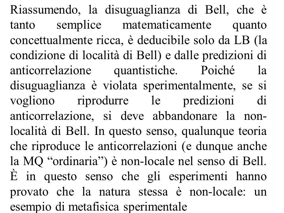 Riassumendo, la disuguaglianza di Bell, che è tanto semplice matematicamente quanto concettualmente ricca, è deducibile solo da LB (la condizione di località di Bell) e dalle predizioni di anticorrelazione quantistiche.