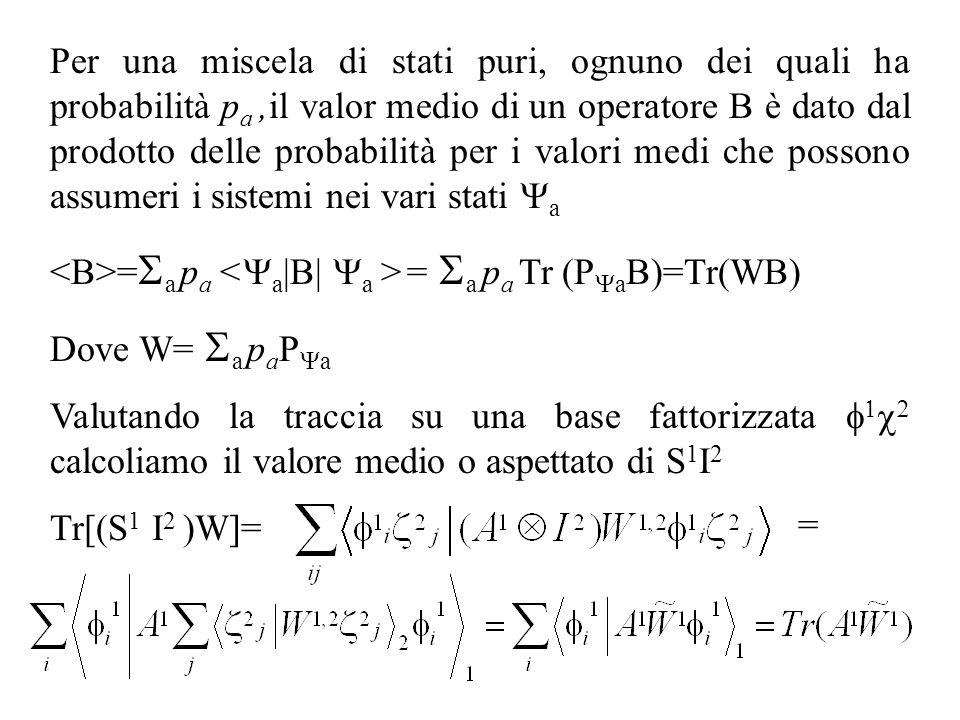 Per una miscela di stati puri, ognuno dei quali ha probabilità pa ,il valor medio di un operatore B è dato dal prodotto delle probabilità per i valori medi che possono assumeri i sistemi nei vari stati Ya