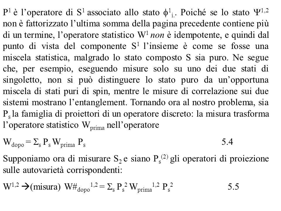 P1 è l'operatore di S1 associato allo stato f1i