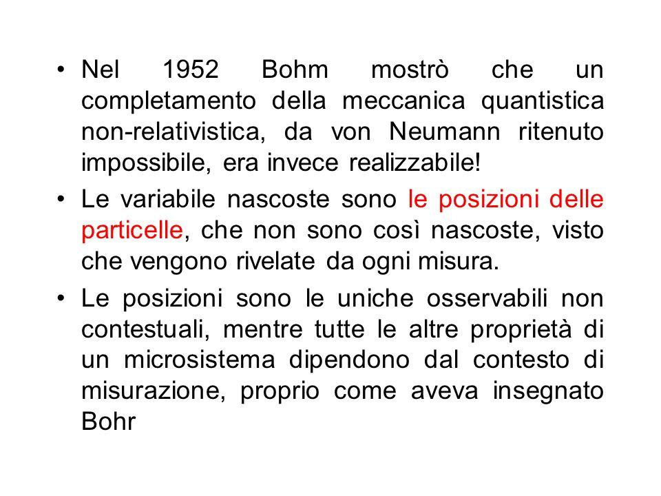 Nel 1952 Bohm mostrò che un completamento della meccanica quantistica non-relativistica, da von Neumann ritenuto impossibile, era invece realizzabile!