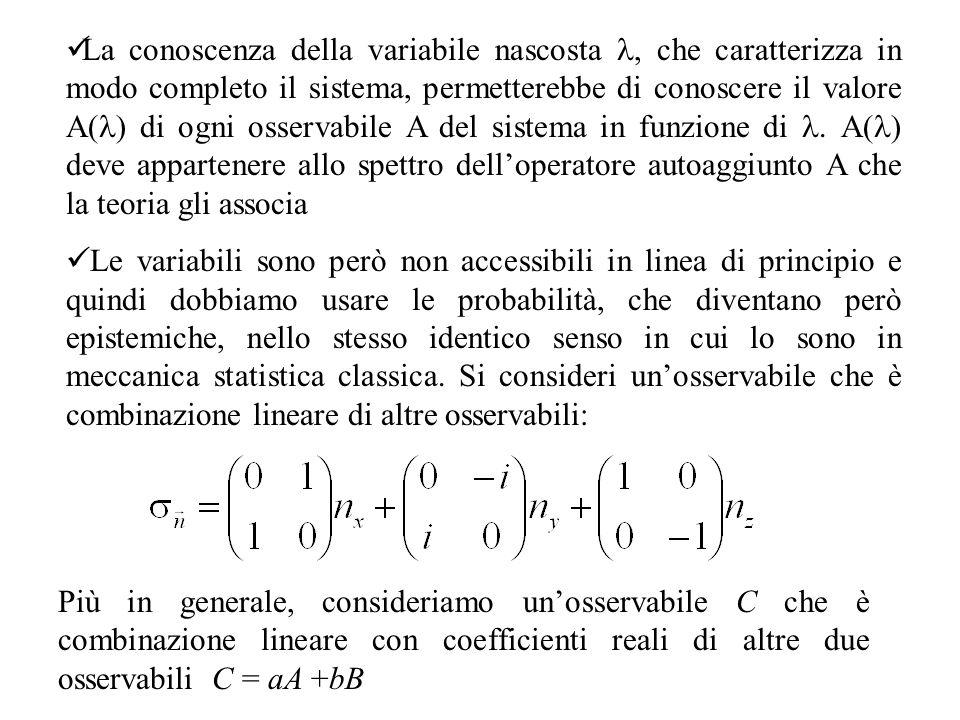 La conoscenza della variabile nascosta l, che caratterizza in modo completo il sistema, permetterebbe di conoscere il valore A(l) di ogni osservabile A del sistema in funzione di l. A(l) deve appartenere allo spettro dell'operatore autoaggiunto A che la teoria gli associa