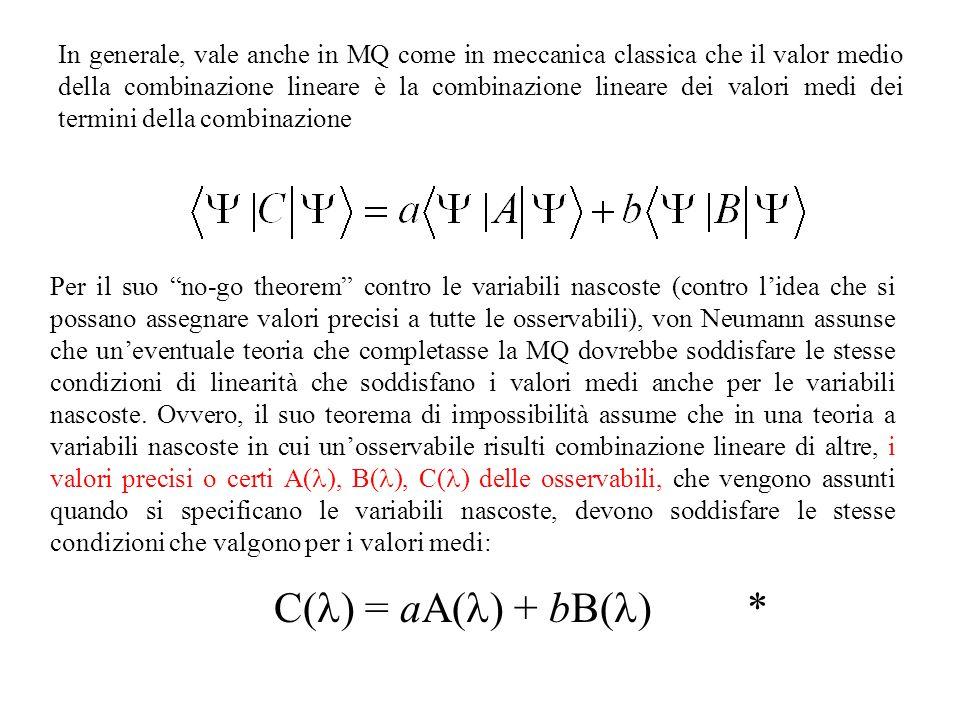 In generale, vale anche in MQ come in meccanica classica che il valor medio della combinazione lineare è la combinazione lineare dei valori medi dei termini della combinazione
