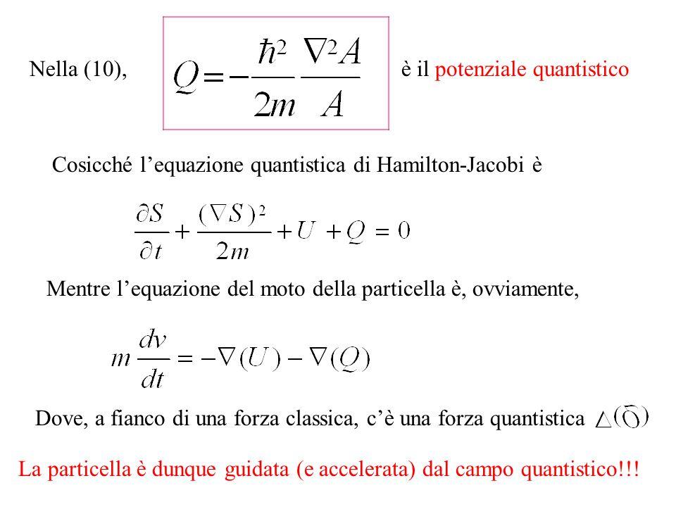 Nella (10),è il potenziale quantistico. Cosicché l'equazione quantistica di Hamilton-Jacobi è.