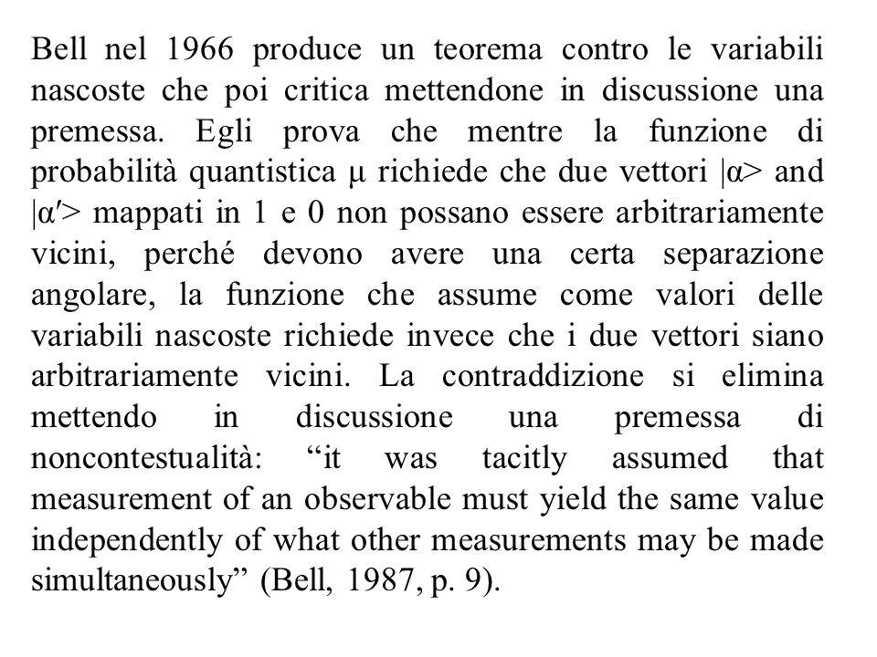 Bell nel 1966 produce un teorema contro le variabili nascoste che poi critica mettendone in discussione una premessa.