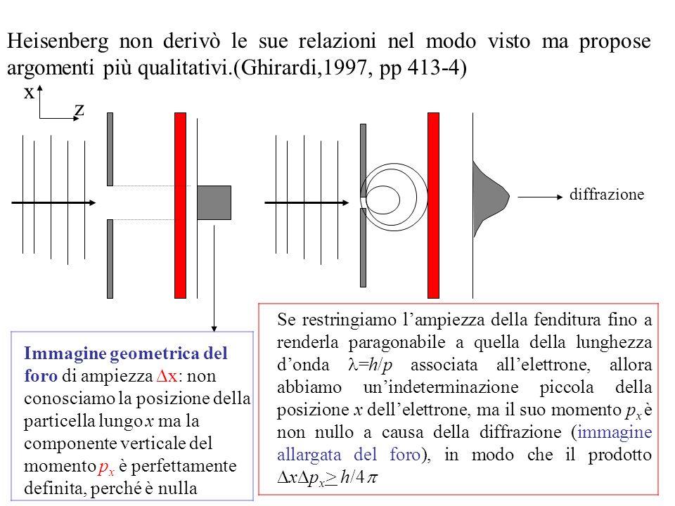 Heisenberg non derivò le sue relazioni nel modo visto ma propose argomenti più qualitativi.(Ghirardi,1997, pp 413-4)
