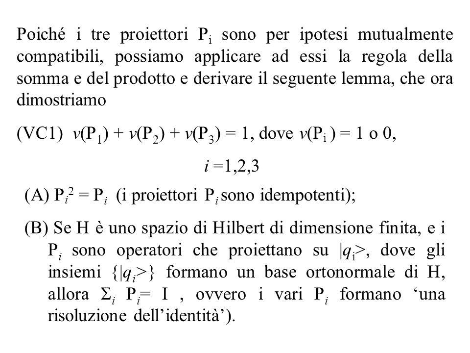 Poiché i tre proiettori Pi sono per ipotesi mutualmente compatibili, possiamo applicare ad essi la regola della somma e del prodotto e derivare il seguente lemma, che ora dimostriamo