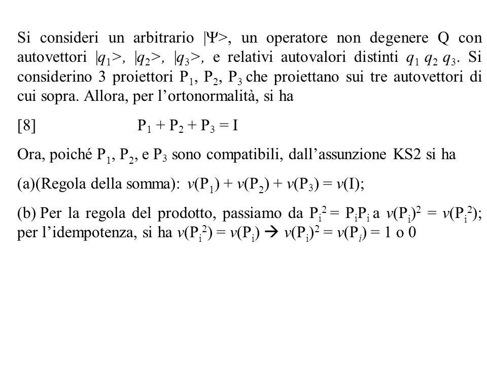 Si consideri un arbitrario |Y>, un operatore non degenere Q con autovettori |q1>, |q2>, |q3>, e relativi autovalori distinti q1 q2 q3. Si considerino 3 proiettori P1, P2, P3 che proiettano sui tre autovettori di cui sopra. Allora, per l'ortonormalità, si ha